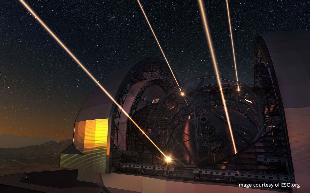 Proiezione dell'immagine del telescopio EELT per gentile concessione dell'ESO