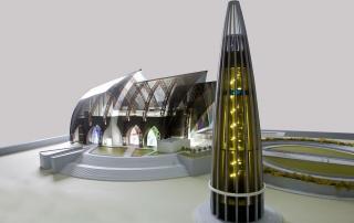 Vista laterale del modello in miniatura della chiesa di St. Stephen