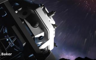 rendering del telescopio fly-eye durante una pioggia di meteoriti, per gentile concessione dell'ESA