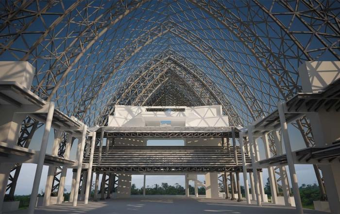 Rendering della struttura a griglia vista dall'interno della chiesa di Santo Stefano
