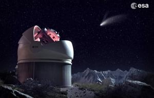 Render del telescopio fly eye e di una stella cadente, per gentile concessione dell'ESA